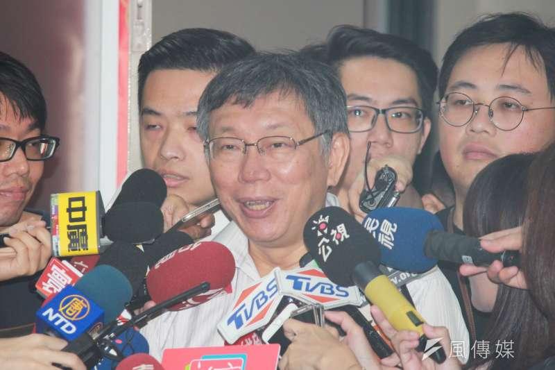 台北市長柯文哲於廣播節目中透露,前鴻海董事長郭台銘有意邀請他任副手,但都被他婉拒。(方炳超攝)