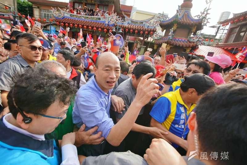 國民黨總統提名參選人、高雄市長韓國瑜在最近民調中出現支持度陡坡式下滑。(盧逸峰攝)