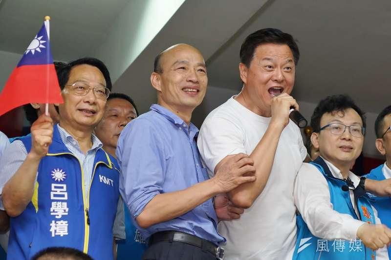 國民黨總統參選人韓國瑜(左二)首場自辦大型造勢活動,將在9月8日於新北市舉行,資深媒體人黃暐瀚認為當天相當重要,有4個關鍵將決定韓的氣勢能否再起。(資料照,盧逸峰攝)