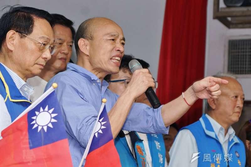 台北市長柯文哲認為,就算高雄市長韓國瑜(見圖)現在表態支持「反送中」也已太遲,因為品牌定位一旦完成,就很難再去改變產品。(資料照,盧逸峰攝)