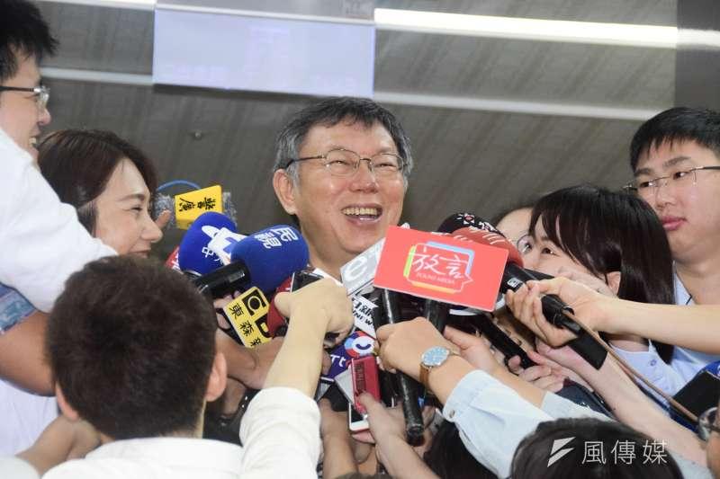 高雄市長韓國瑜提出能源政策,將在「人民同意」、「安全無虞」2前提下重啟核四。台北市長柯文哲(見圖)22日聽聞後,回說「廢話」,之後還大笑。(資料照,吳俊廷攝)