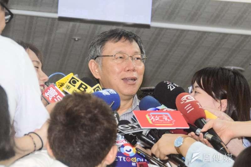 20180819-台北市長柯文哲接受媒體聯訪。(吳俊廷攝)