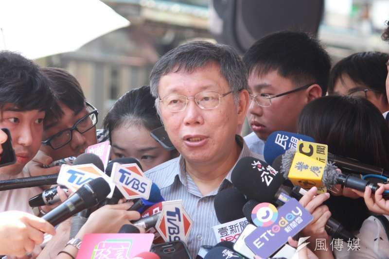 台北市長柯文哲20日上午出席慈悲關懷社區開幕儀式。(方炳超攝)