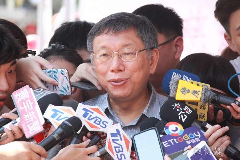 被問及若前鴻海董事長郭台銘若代表國民黨參選,是否還會支持?台北市長柯文哲(見圖)20日表示,支持有分很多種。(方炳超攝)