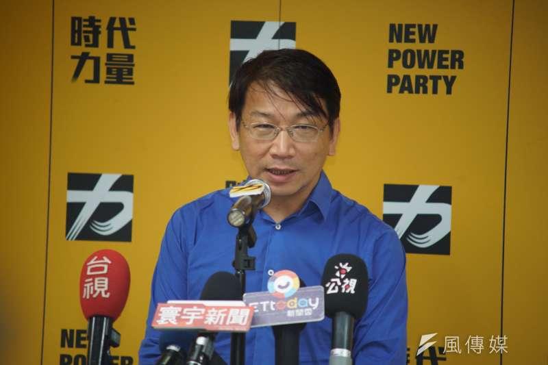 時代力量立法院黨團總召徐永明(見圖)接任時力新任黨主席,他表示2020大選的目標,是政黨票要破百萬。(盧逸峰攝)