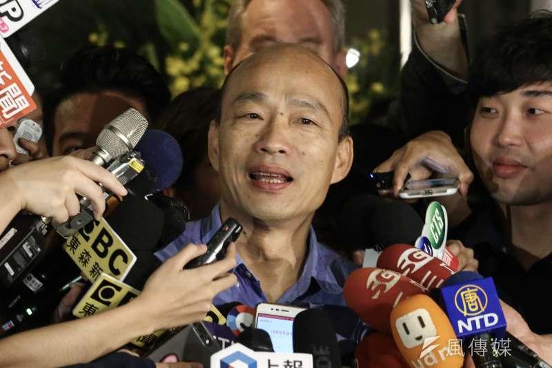 20190821-高雄市長韓國瑜參加台北市美國商會午餐會活動,並於會後接受媒體聯訪。(陳品佑攝)