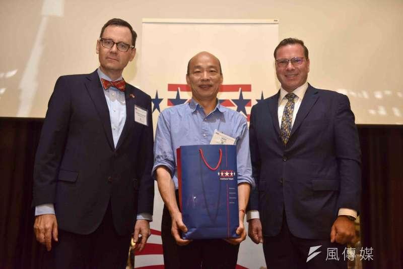 市長韓國瑜(中)於台北市美國商會以「從高雄市政到台灣未來-由能源、科技與開放看台灣經濟發展」為題發表演說。(圖/徐炳文攝)