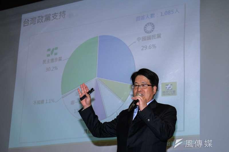 台灣民意基金會董事長游盈隆表示,如果要在這個時間點分析藍綠支持者的話,是綠比藍大。(蔡親傑攝)