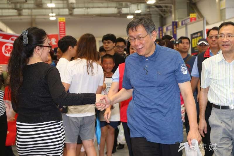 20190824-台北市長柯文哲24日出席就業博覽會。(顏麟宇攝)
