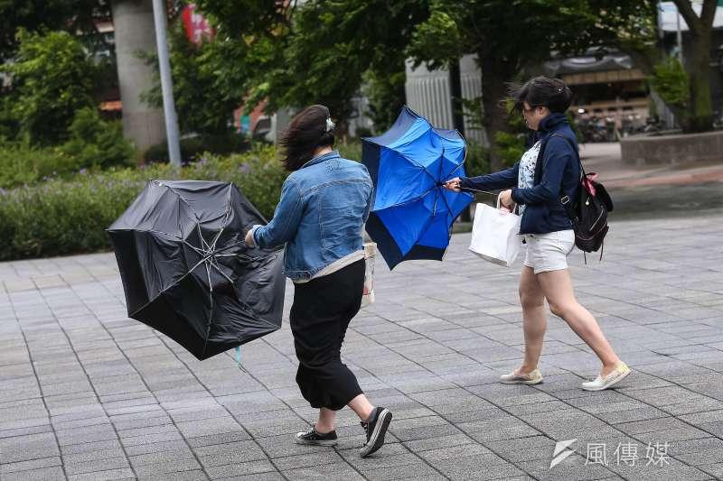 輕颱白鹿侵襲南臺灣,台北雖無大雨,但瞬間強陣風仍使民眾的傘紛紛開花。(顏麟宇攝)