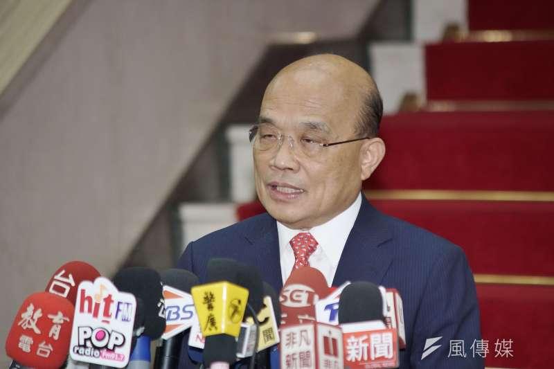 20190826-行政院長蘇貞昌接受媒體聯訪。(盧逸峰攝)