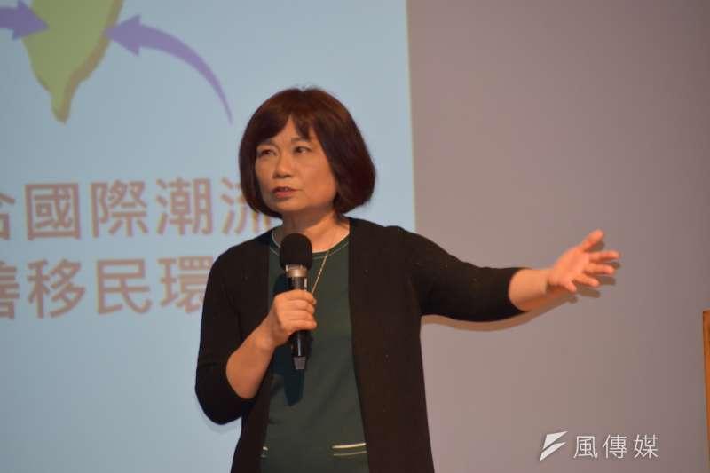 國家發展會主委陳美伶,談國家發展重要計畫。(圖/徐炳文攝)