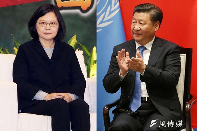 總統蔡英文(左)及中國國家主席習近平(右)。(合成照,蘇仲泓攝、美聯社)