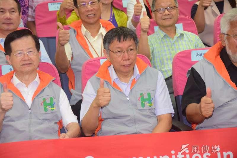 媒體報導,台北市長柯文哲昨晚和企業經營者見面兩個鐘頭。圖為柯文哲今日出席一日社區關懷活日活動。(吳俊廷攝)