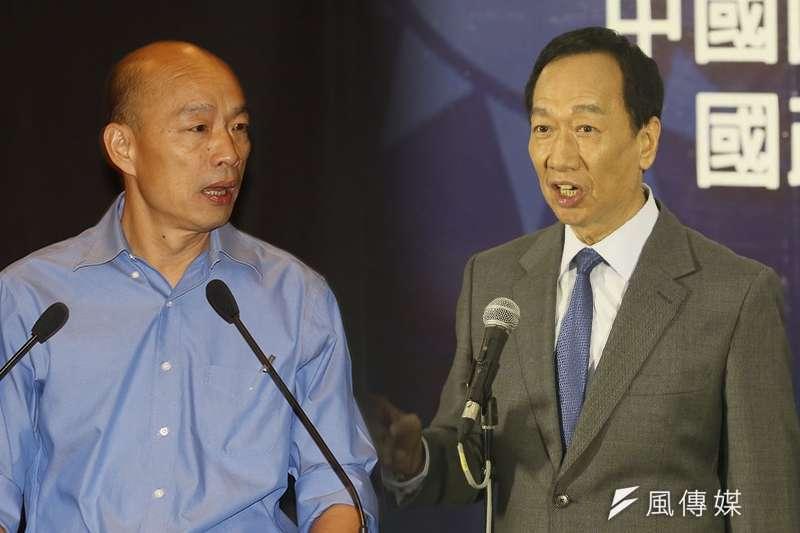 資深媒體人李艷秋指出,鴻海創辦人郭台銘(右)不選2020,接下來國民黨總統候選人韓國瑜(左)就要負起全責了。(資料照,新新聞柯承惠攝/風傳媒合成)