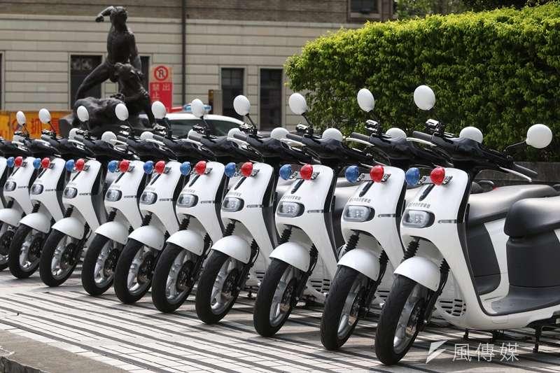 北市現有410輛「Gogoro警用機車」,已超過北市警用機車總數的10分之1。(蘇仲泓攝)