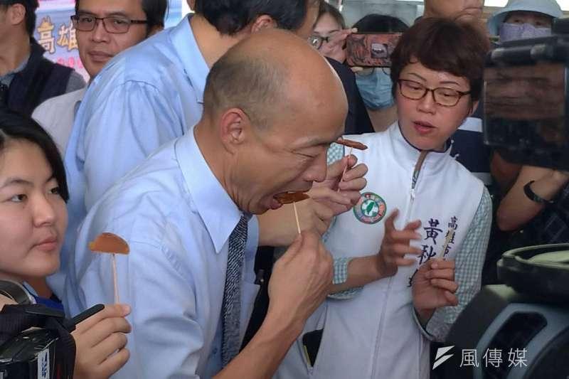 針對被關務署打臉一事,國民黨總統參選人韓國瑜以「芝麻重要還是燒餅重要」來比喻,認為大家都在「芝麻」上打轉。(資料照,徐炳文攝)
