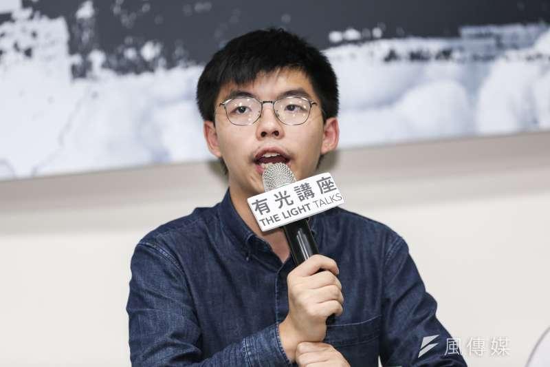 香港眾志秘書長黃之鋒在座談中提及,香港的抗爭模式並非從上向下,而是從下到上的,彼此努力團結爭取應有的權利。(簡必丞攝)