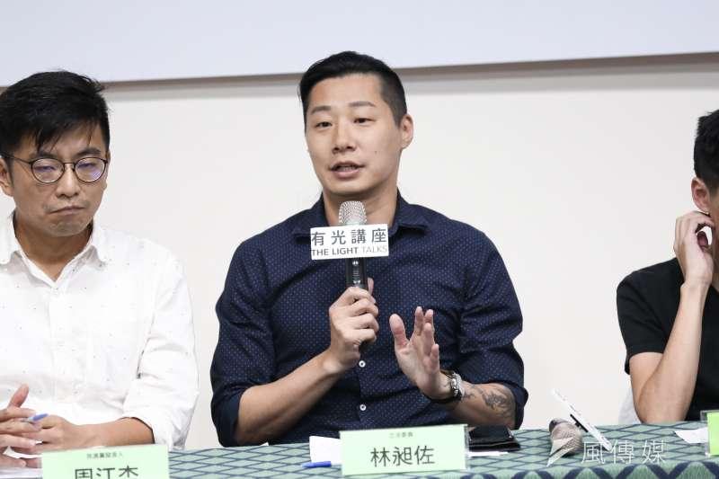 無黨籍立委林昶佐表示,香港雖然被中國統治,仍在努力爭取民主自由,是真正的「第一線」,讓各地受壓迫的人民看到希望,他要對此表達敬意與謝意。(簡必丞攝)