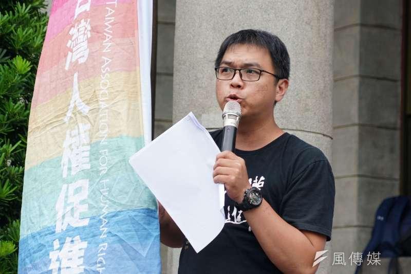 20190904-人權團體舉行「失聯外勞的悲歌」記者會,台灣人權促進會副秘書長施逸翔發言。(盧逸峰攝)