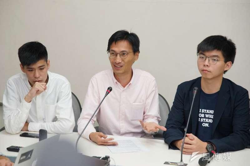 20190905-岑敖暉、朱凱迪、黃之鋒拜訪立院民進黨團。(盧逸峰攝)