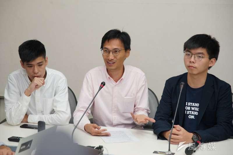 20190905-岑敖暉、朱凱迪、黃之鋒拜訪民進黨團。(盧逸峰攝)