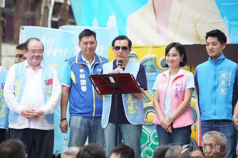 20190907-立委柯志恩加油茶會,前總統馬英九(中)到場聲援。(盧逸峰攝)