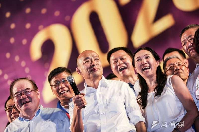 國民黨總統參選人、高雄市長韓國瑜在新北市舉行首場造勢活動,痛批民進黨和名嘴。(簡必丞攝)