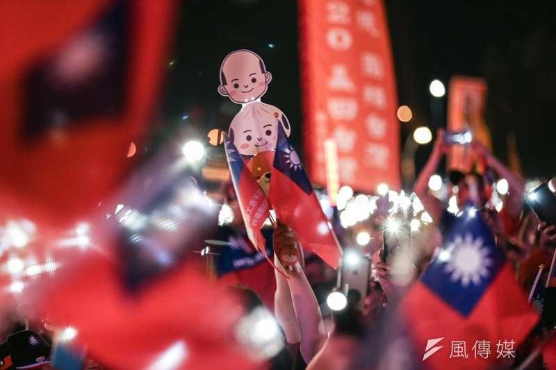 國民黨總統參選人、高雄市長韓國瑜在新北市舉行首場造勢活動,支持者到場力挺。(簡必丞攝)