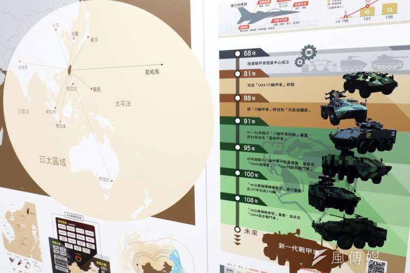 20190911-國防部11日舉行記者會中公布「國防報告書」,報告書內容運用大量「資訊圖表」。(蘇仲泓攝)