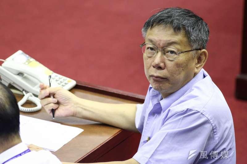 台北市長柯文哲(見圖)曾提出「美中台等邊三角」的概念,但日本教授松田康博認為,若對盟友美國提出三國「等邊三角形」的論述,美國人會生氣。(資料照,陳品佑攝)