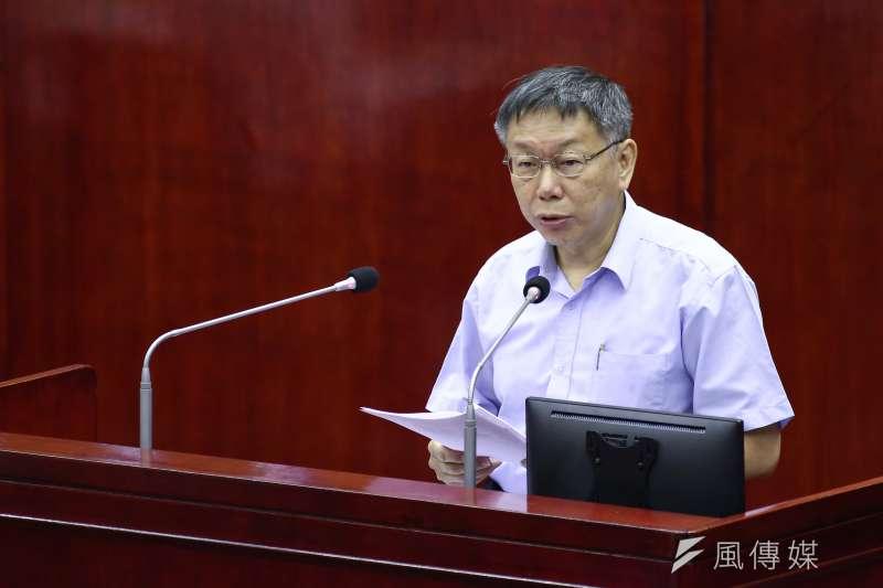 台北市長柯文哲在《天下雜誌》的施政滿意度調查排名倒數第3,被民進黨議員洪健益批評是「敬陪末座」,不料柯竟回應「最差的在選總統」。(陳品佑攝)