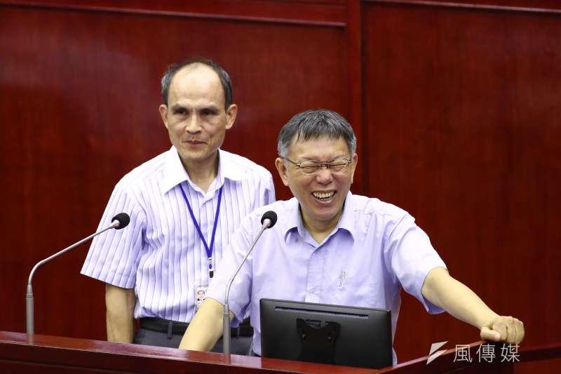 台北市長柯文哲赴台北市議會「施政報告與質詢及答覆」。(陳品佑攝)
