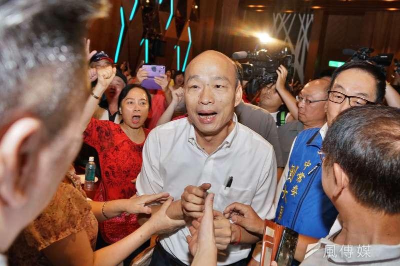 國民黨總統參選人、高雄市長韓國瑜14日前往台中造勢。(資料照,盧逸峰攝)