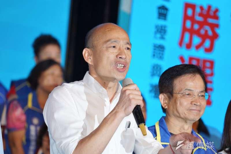 高雄市長韓國瑜 (見圖)10日出席台北市國民黨籍里長授證儀式,活動上稱國民黨前立委丁守中的「佛系打法」不講話、不做事、也沒有動作。(資料照,盧逸峰攝)