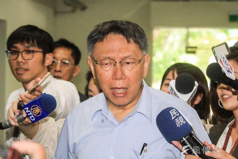 前鴻海董事長郭台銘退出國民黨,台北市長柯文哲(見圖)12日表示,沒有太特別的意見。(蔡親傑攝)