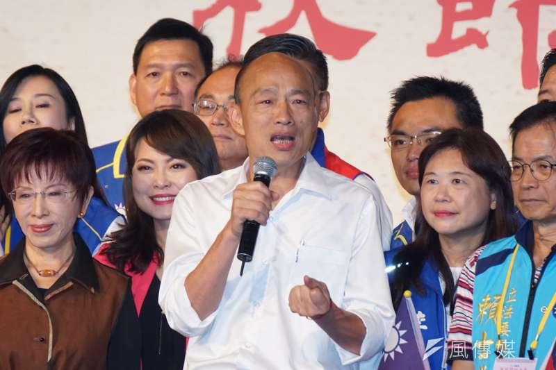 筆者指出,選民會懷疑國民黨總統參選人韓國瑜(見圖)參選的動機和旺中集團「無色覺醒合約」有關,因此「寧可吃菜、『不敢』吃魚」。(資料照,盧逸峰攝)
