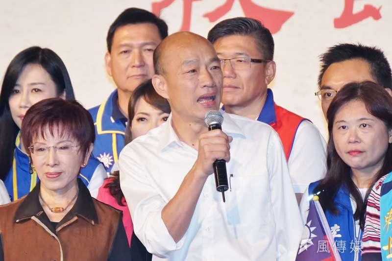 高雄市長韓國瑜20日晚間在臉書批評,蔡政府的「踏實外交」,看起來就只是一個拿著大罐萬金油的辣台妹,「踏死」了我們的外交而已。(盧逸峰攝)