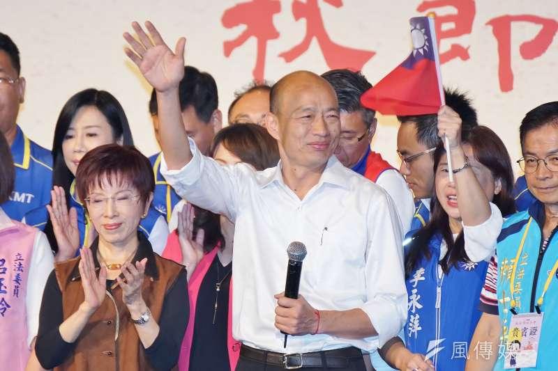 國民黨總統參選人高雄市長韓國瑜主打經濟牌,但競選策略仍以個人認同為核心。(盧逸峰攝)
