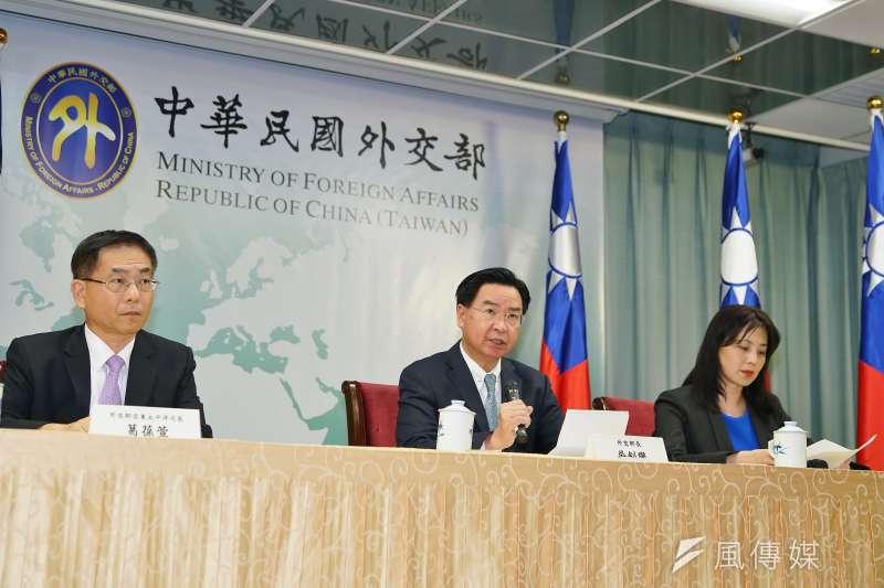 我國與索羅門群島斷交事件,外交部長吳釗燮主持記者會。(盧逸峰攝)