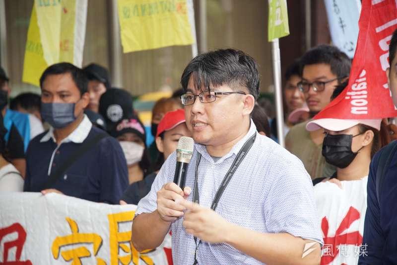 20190916-台灣移工聯盟「職災是人禍,家屬要公道 」記者會,律師邱顯智發言。(盧逸峰攝)