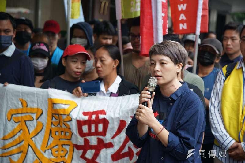 20190916-台灣移工聯盟「職災是人禍,家屬要公道 」記者會,陳秀蓮發言。(盧逸峰攝)