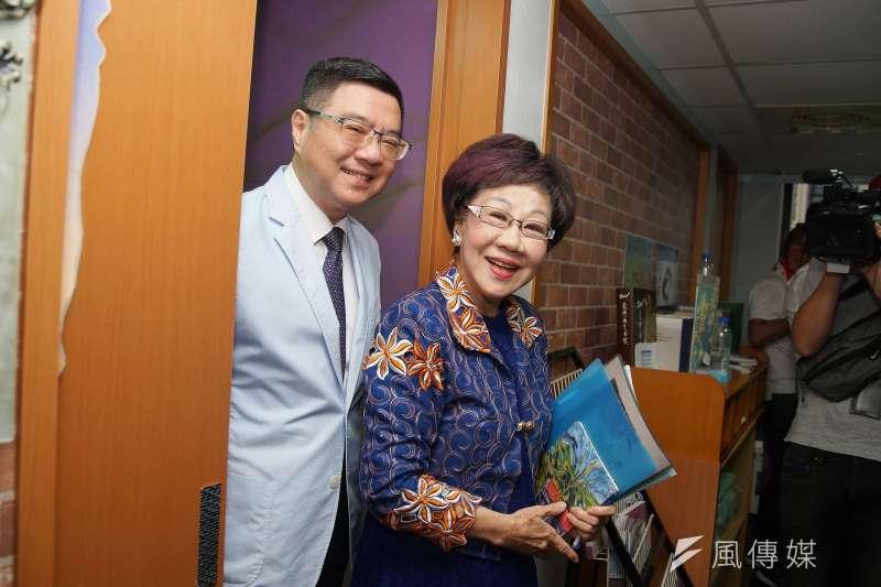 民進黨主席卓榮泰與前副總統呂秀蓮18日會面。(盧逸峰攝)