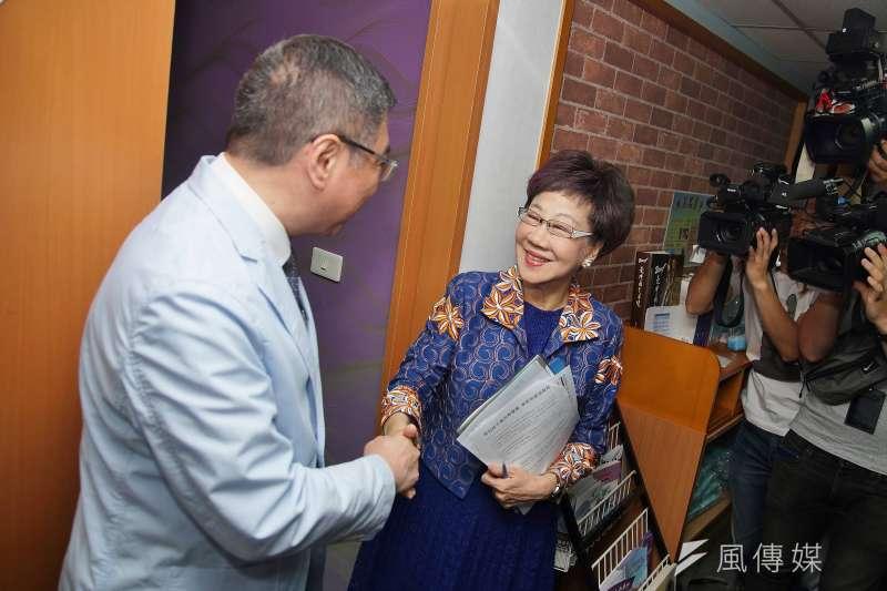 20190918-民進黨主席卓榮泰與前副總統呂秀蓮會面。(盧逸峰攝)