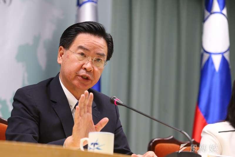外交部長吳釗燮針對吉里巴斯與我國斷交召開記者會說明。(顏麟宇攝)
