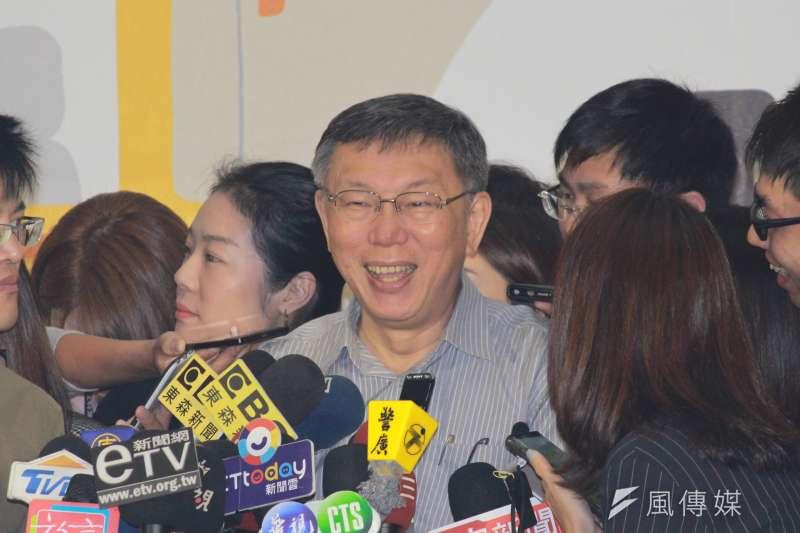 20190920-台北市長柯文哲20日上午出席社區照顧關懷據點聯合成果展活動,會後受訪。(方炳超攝)