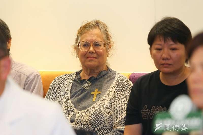 20190921-施民德前妻艾琳達21日出席史明教育基金會記者會。(顏麟宇攝)