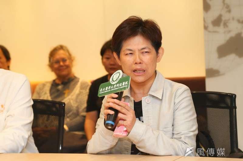 史明教育基金會董事長黃敏紅21日召開記者會,她提到6月底史明最後一次公開出席活動時,對年輕人喊話,「明年大選,台灣一定要贏。」(顏麟宇攝)