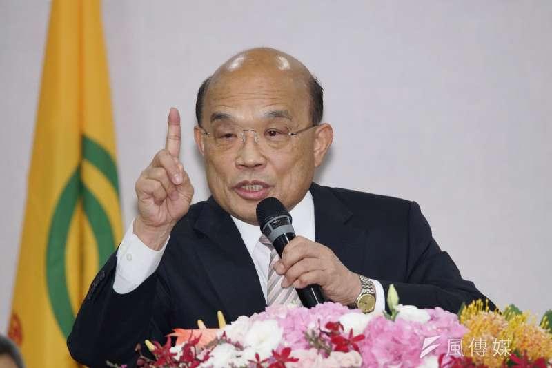 行政院長蘇貞昌(見圖)認為,國民黨總統參選人、高雄市長韓國瑜不參加行政院會,卻為了選舉高倡要開國是會議,「也太自私了吧。」(盧逸峰攝)