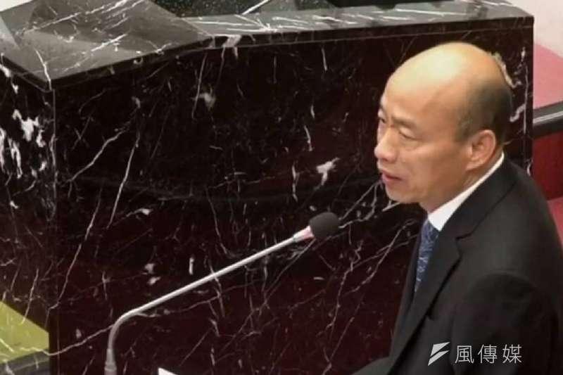 議員要求韓國瑜保證、能否在總質詢期間不要請假,韓國瑜回應目前為止沒官話,但沒有當場保證。(圖/徐炳文攝)